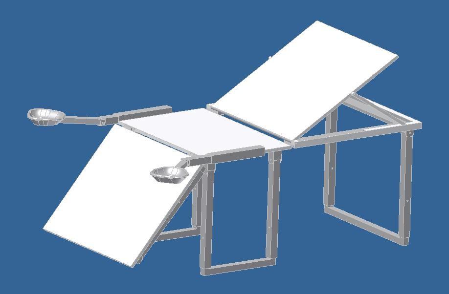 CAD model of portable pelvic examination table alpha prototype