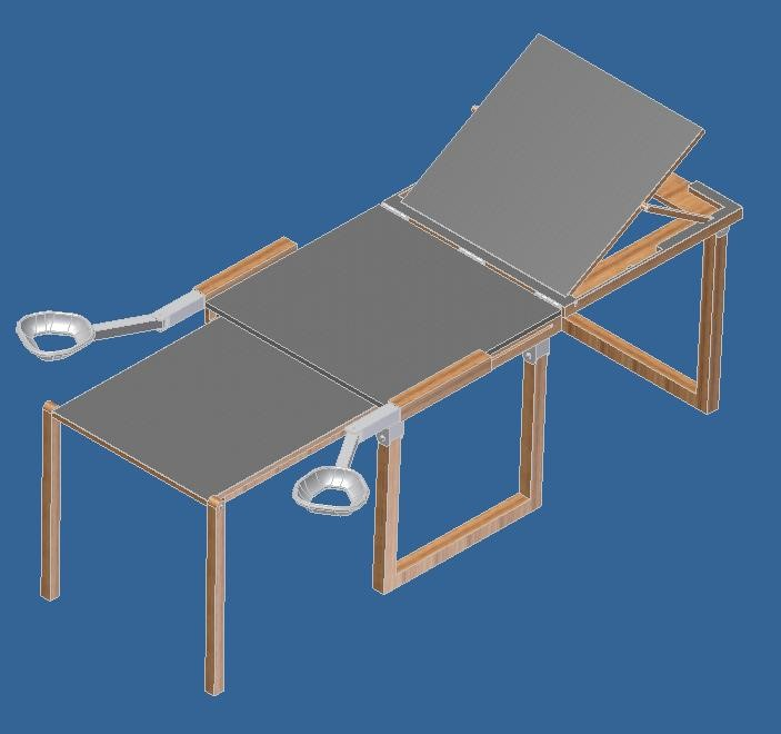 CAD modle of portable pelvic examination table beta prototype