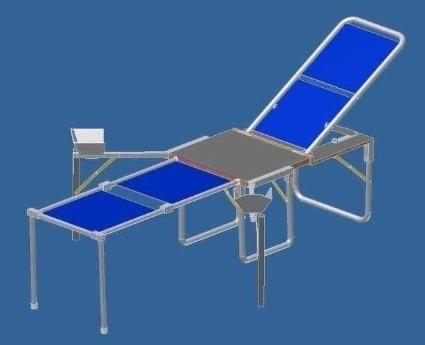 CAD model of portable pelvic examination table omega prototype